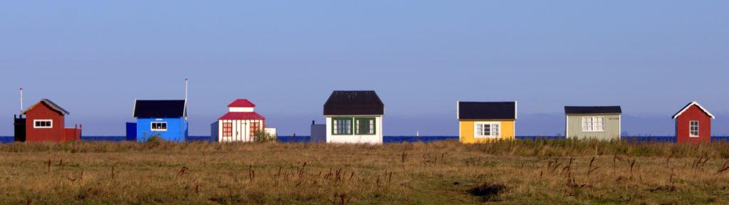 The beach houses at Vesterstrand beach, in Ærøskøbing on the island of Ærø in the Danish Archipelago